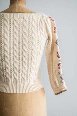 Vintage Cropped Cross-Stitched Cardigan - S
