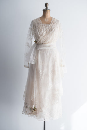 Early 1920s Silk Alencon Lace Wedding Gown - XS