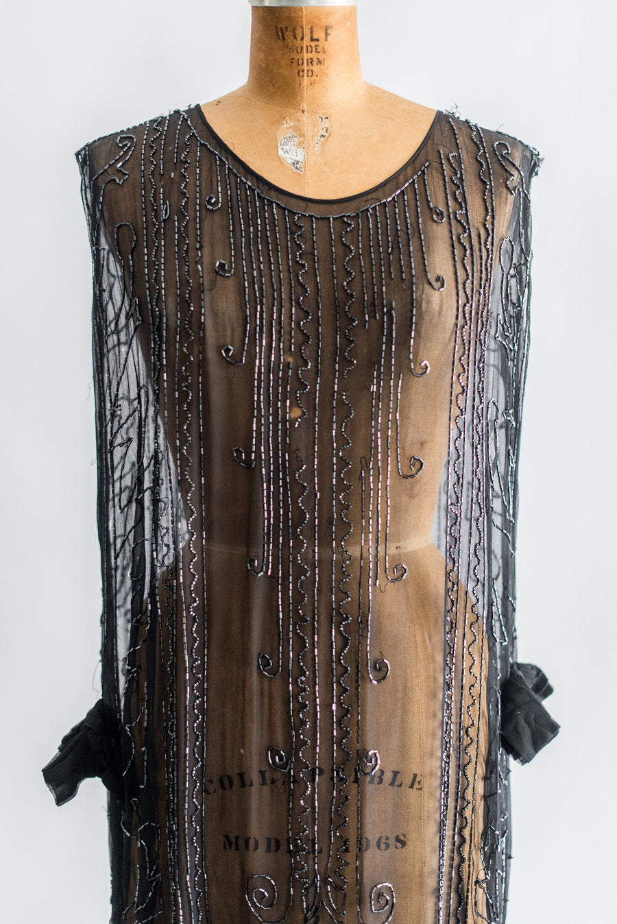1920s Black Silk Chiffon Beaded Flapper Dress - S/M