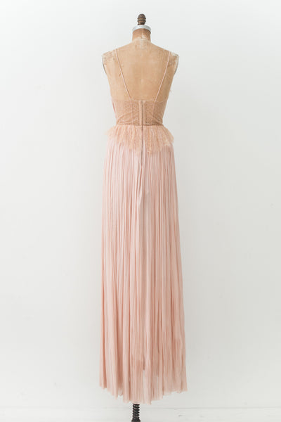 RENTAL Pink Silk Tulle Pleated Gown - XSS