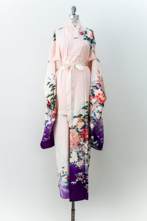 Vintage Silk Pink and Purple Ombre Floral Kimono - One Size