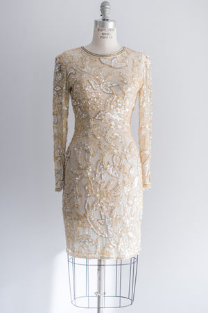 1980s Silk Beaded Cocktail Dress - S