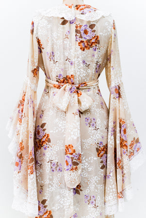 1970s Angel Sleeves Dress - S/M