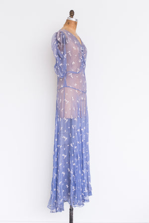 1940s Blue Silk Mesh Embroidered Dress - S/M