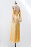 RESERVED 1930s Yellow Silk Satin and Lace Dressing Gown - S