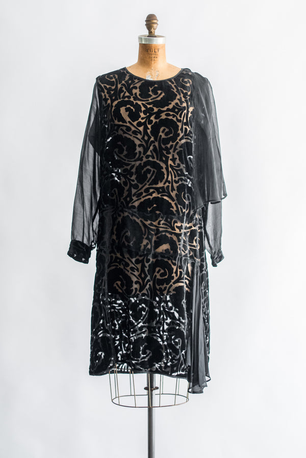 1920s Velvet Devore Flapper Dress - M