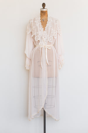 1970s Chiffon Lace Dressing Gown - One Size