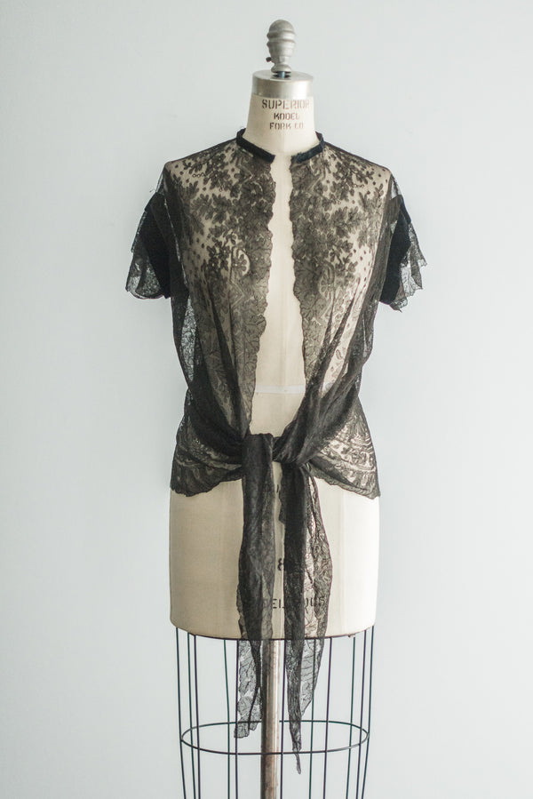 1920s Silk Lace Chantilly Jacket - S/M