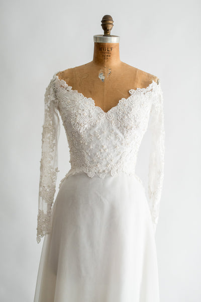 1970s Ivory Lace Beaded Gown - M
