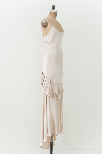 RENTAL Beige Silk Bias Gown - S