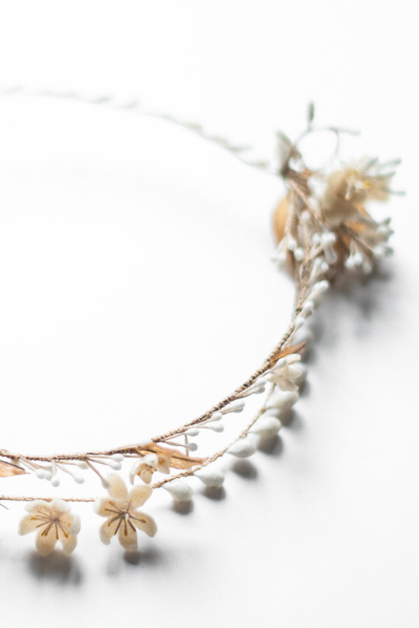 1920s Wax Tiara with Side Flowers