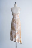 1980s Silk Beaded Asymmetrical Hem Dress - M