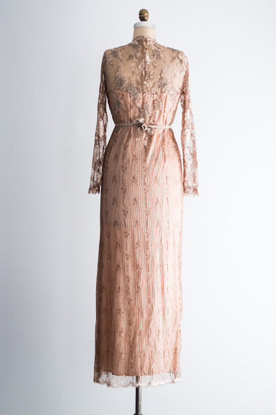 1980s Vintage Silk Satin and Taupe Beaded Lace Gown - M/L