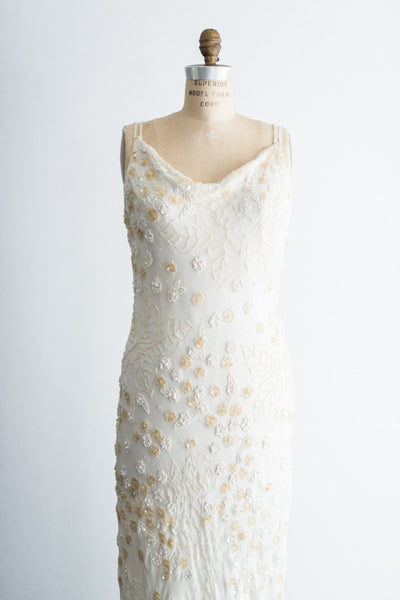 1980s Chiffon Beaded Dress - S/M