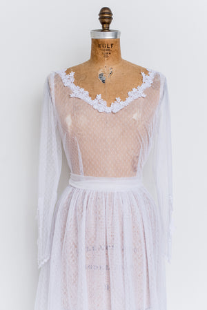 1970s Sheer Lace Tulle Dress - S