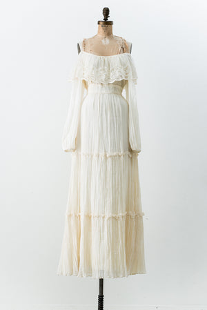 1970s Cotton Gauze Off-the-Shoulder Dress - S/M