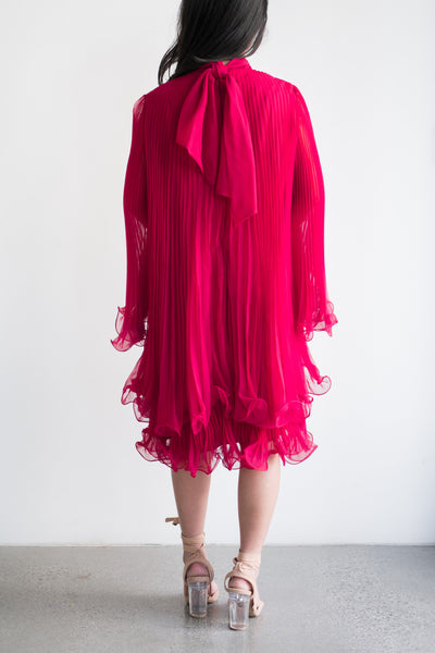 1960s Red Pleated Trapeze Dress - S/M