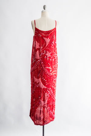 1980s Red Silk Chiffon Beaded Dress - M/L