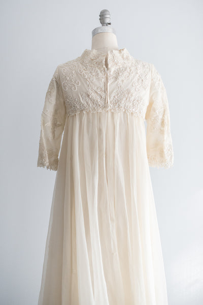 1960's Mod Silk Organza and Lace Beaded Gown - S/M