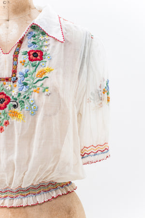 1920s Embroidered Peasant Top - S/M