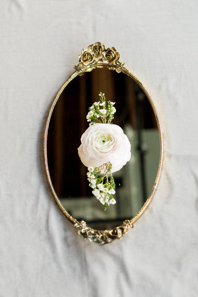 Vintage Oval Gold Mirrored Tray