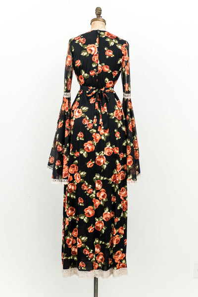 1970s Black Floral Angel Sleeves Maxi Dress - S/M