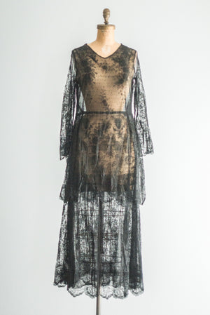 1920s Silk Lace Dinner Dress - M