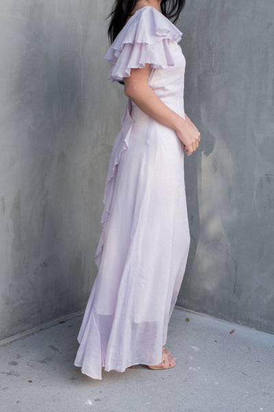 1930s Lavender Flutter Sleeves Bias Cut Gown - XS