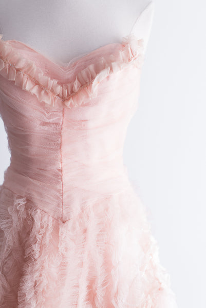 1950s Blush Pink Long Tulle Gown - XS