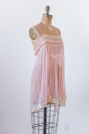 1920s Silk Chiffon and Lace Step-in - M