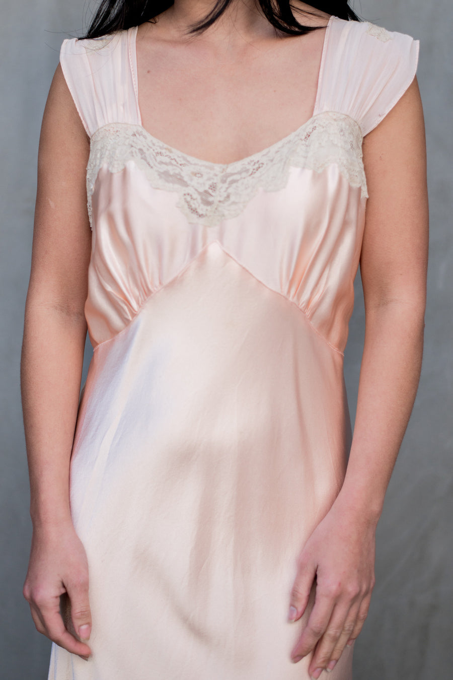 1930s  Peach Silk Slip Gown - M