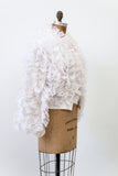 1970s White Ruffled Poly Jacket - S/M