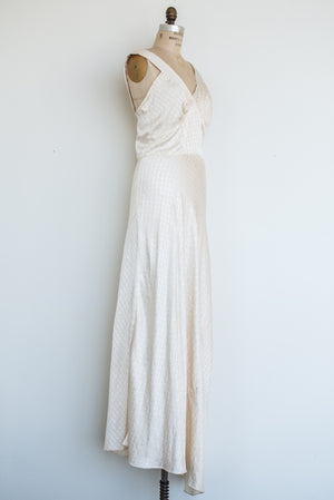 1930s Ivory Silk Patterned Gown - S