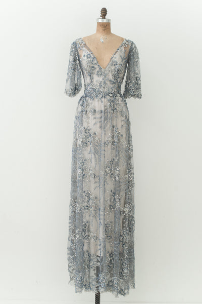 RENTAL Blue Beaded Gown - S