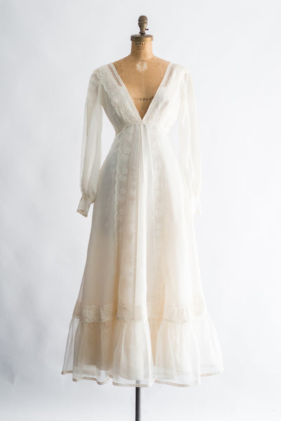 1970s Cream Chiffon and Lace Dress - XS