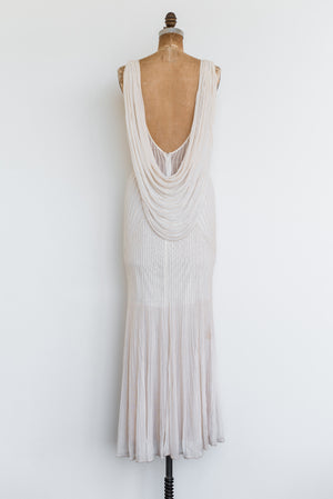 1980s Bias Cut Tulle Pearl-Beaded Gown - S/M