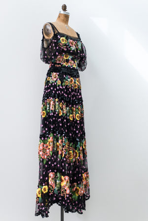 Marchesa Embroidered Lace Gown - XS/S