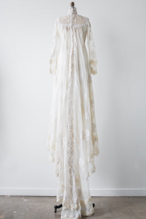 1970s Ivory Long Sleeve Lace Gown - S