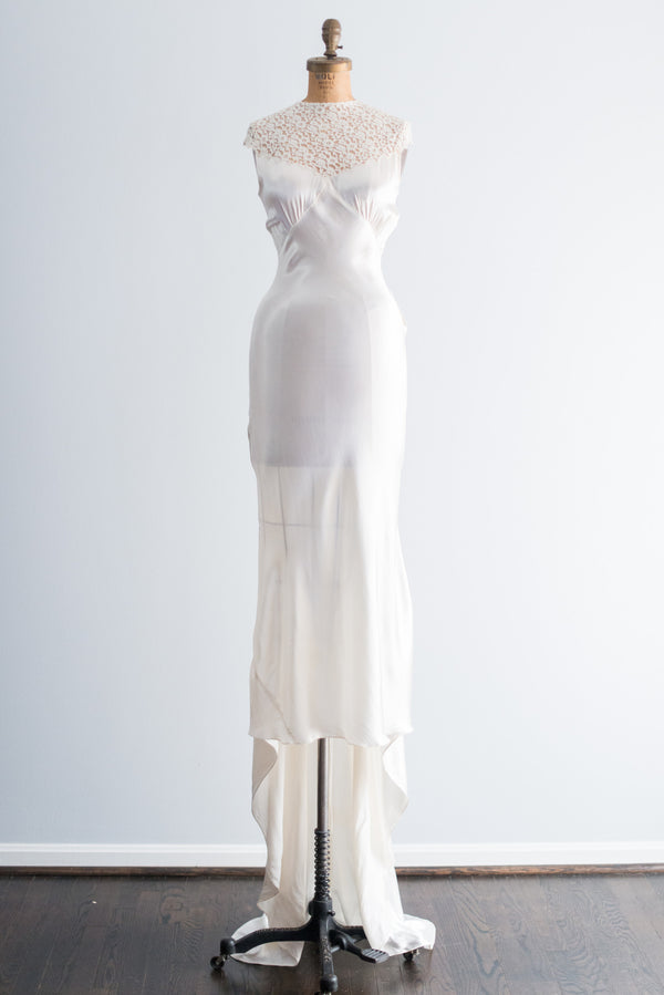 1930s Satin and Lace Wedding Gown - XS