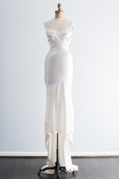 ... 1930s Satin and Lace Wedding Gown - XS 5f571df0d