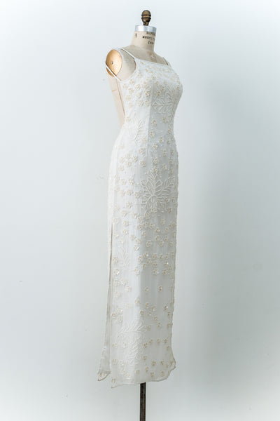 1980s Ivory Silk Beaded Gown - M