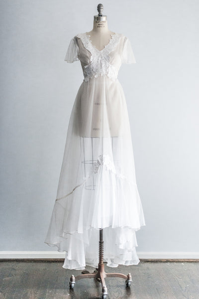 1970s Swiss Dot Organza Gown - S