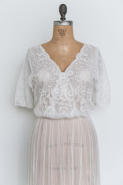 Antique Duchesse Lace Gown with Silk - M/L