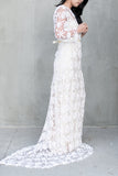 1970s Off-White Crochet Gown - S/M