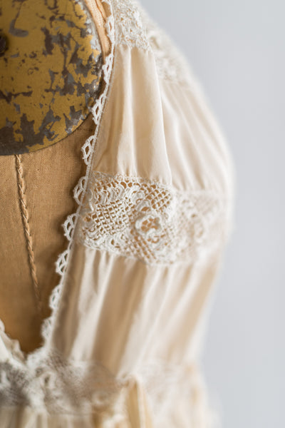 1920s Ivory Silk Crepe Slip with Irish Lace Insert - S/M