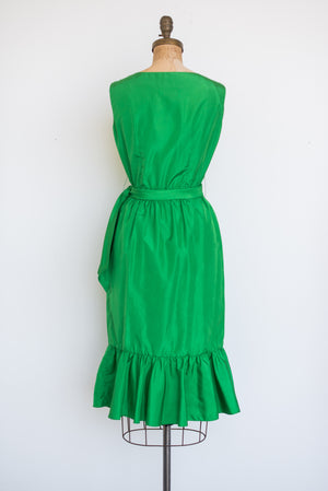 1970s Green Wrap Style Dress - S