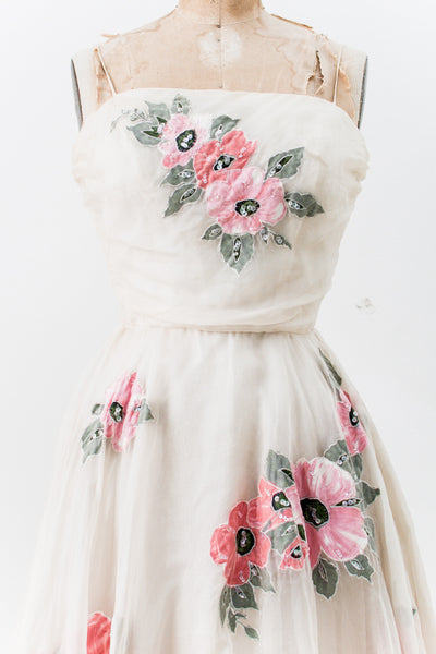 1950s Ivory Silk Organza Dress with Flowers - XS