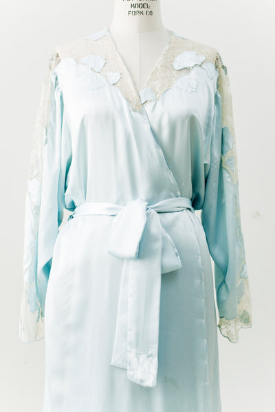 Vintage Satin Cutout Robe with Lace Insert - S-L
