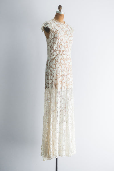 1930s Ivory Floral Lace Gown - M