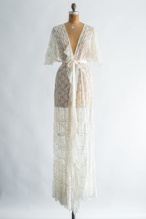 Rare Edwardian Valenciennes Lace Sweeping Dressing Gown - One Size